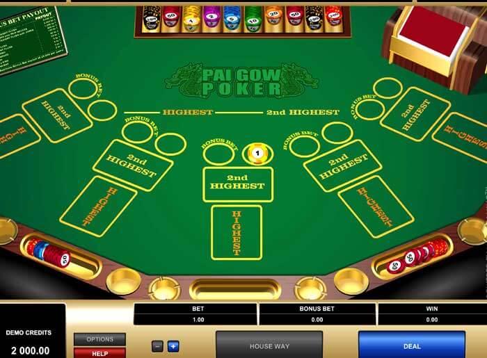 Poker Pai Gow en ligne en argent réel